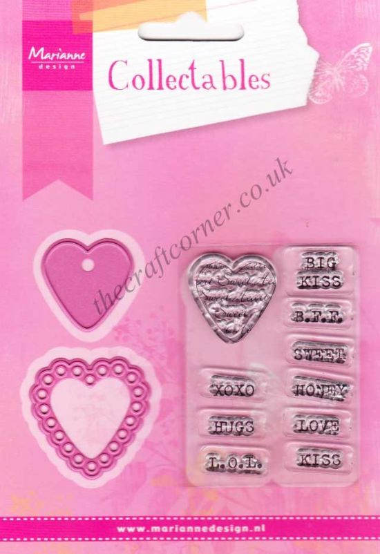 Candy Hearts Die and Clear Rubber Stamps by Marianne Design